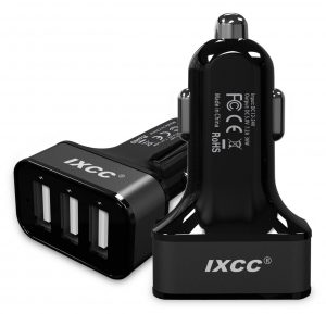 3. iXCC 3 Ports USB vehicle Charger, 36W / 7.2A Fast Charge Car Charger