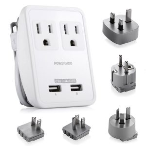 5. Poweradd [UL Listed] 2-Outlet International Travel Charger