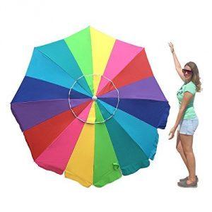 3. EasyGo Rainbow Heavy Duty Design Beach Umbrella
