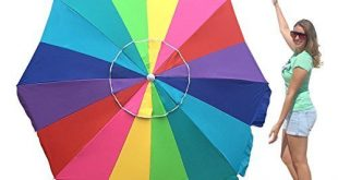 3. EasyGo Rainbow Heavy Duty Design Beach Umbrella