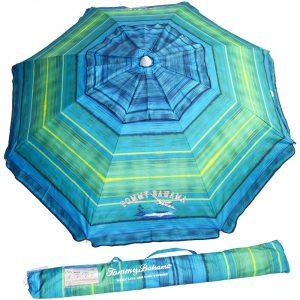 4. Tommy Bahama 2016 –Feet Sand Anchor Beach Umbrella (Green/Blue Stripe)