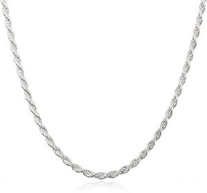 10. Sterling Silver 2mm Rope Chain Necklace