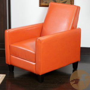 Lucas Orange Leather Sleek Modern Recliner Club Chair