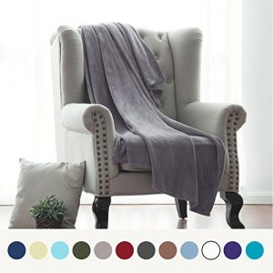Flannel Fleece Blanket Grey Throw Blanket