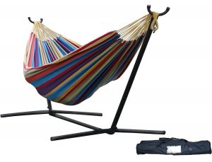 VivereDouble Hammock with Space-Saving Steel Stand