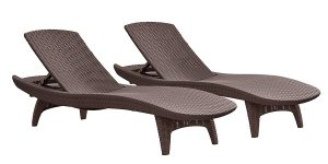 Keter Pacific 2-Pack All-weather Adjustable Outdoor PatioChaise Lounge