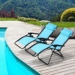 Ollieroo 2-Pack Blue Zero Gravity Lounge Chair