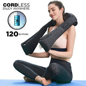 LiBa Cordless Shiatsu Neck Shoulder Back Massager Belt with Heat