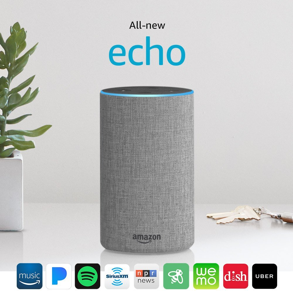 Heather Gray Fabric 2nd Generation Amazon Echo Speaker