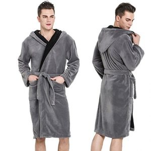 Hooded Herringbone Men's Black Soft Spa Bathrobe