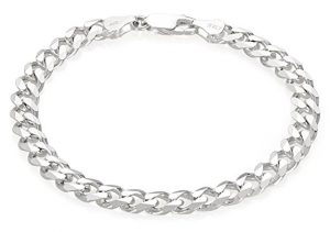 Thick Italian 925 Sterling Silver Beveled Cuban Link Bracelet