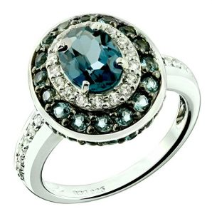 Sterling Silver 925 Ring LONDON BLUE TOPAZ