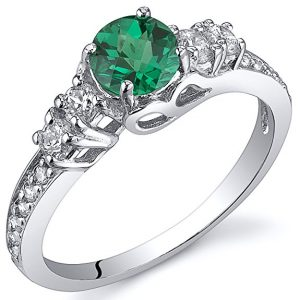 Simulated Emerald Solstice Ring Sterling Silver