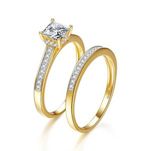 Bonlavia 1.35ct Gold 18k 925 Sterling Silver Engagement Ring Sets