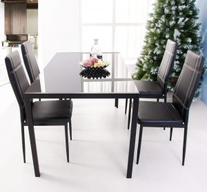 Merax 47inch Dining Table with Glass Top Metal Legs, Rectangular