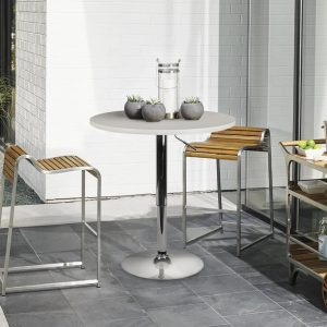 LCH – 23.6 Inches Modern Round Dining Bar Table, Chromed Legs