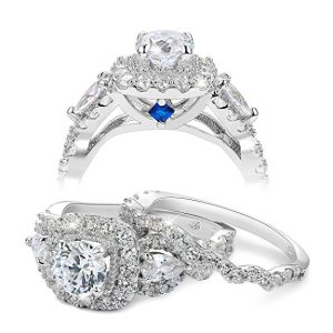 Newshe Bridal Set 2ct Round Cut White Cz 925 Sterling Silver