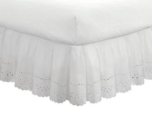 "Eyelet Ruffled Bedskirt – Ruffled Bedding with Gathered Styling –14"" Drop, Queen"
