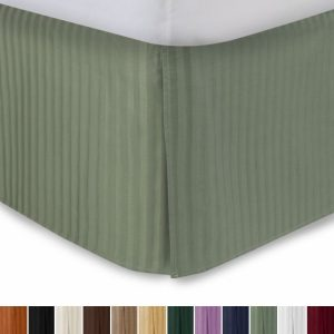 "Harmony Lane Tailored Bed skirt with 18"" Drop, Queen Size, Sage Sateen Stripe"