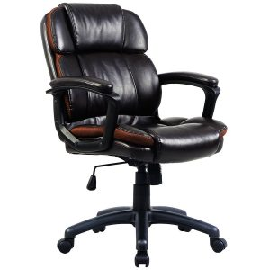 Giantex Ergonomic PU Leather Mid-Back Task Chair-Mid Back Task Chairs