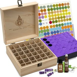 Natural Pine, Wooden Storage Case. Free EO Labels & Foam Pad, 36 Bottle slots Designed for Tall Boxes.