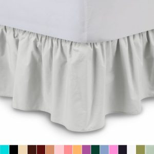 Ruffled Bedskirt (King, Bone) 18 Inch Bed Skirt with Platform,- by Harmony Lane