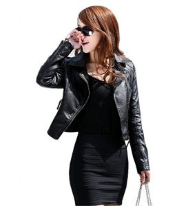 GetUBack Vintage Women's Slim Motorcycle PU Leather Zipper Jacket