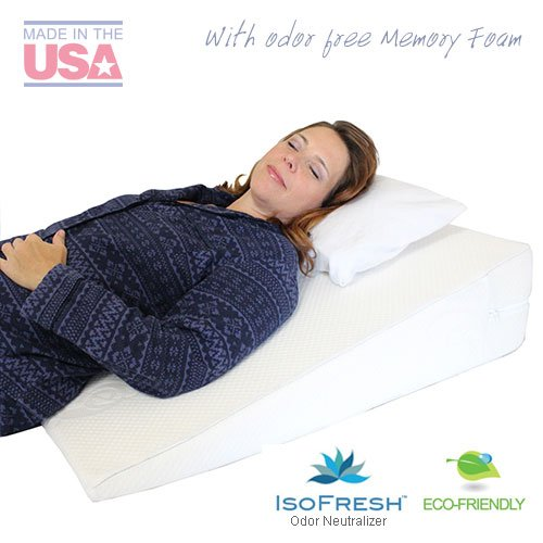 Acid Reflux Wedge Pillow with Memory Foam Overlay and Removable Microfiber Cover