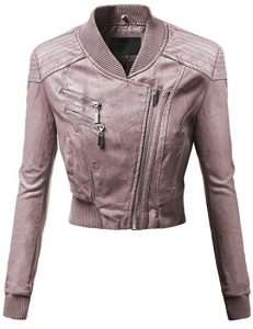 Awesome21 Women's Varsity Letterman Bike Leather Jacket