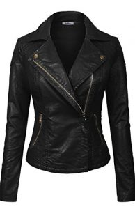 BodiLove Women's Slim Tailoring Faux Leather Biker Jacket
