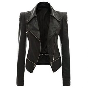 CHICFOR Women's Faux Leather Zipper PU Leather Jacket