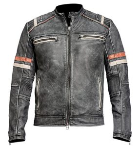 Café Racer Retro Motorcycle Leather Vintage Jacket for Men