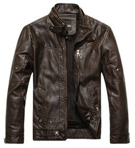 Chouyatou Men Vintage Stand's Leather Jacket