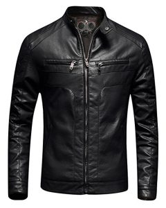 Fairylinks Mens Casual Slim Fit Moto Bomber
