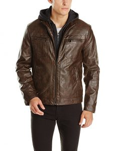 Kenneth Cole Faux-Leather REACTION Jacket with the Hood