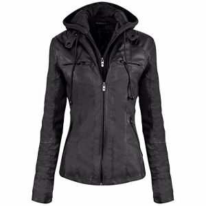 Newbestyle Hooded Faux Leather Women Motorcycle Jacket