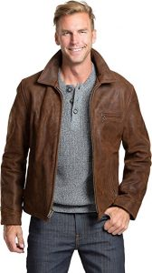 Overland Sheepskin Co Nick Heavy Duty Nubuck Leather Motorcycle Jacket