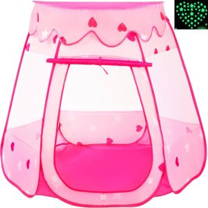 Playz Ball Pit Princess Castle Play Tents for Girls w/ Glow in the Dark Stars