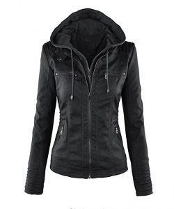 Showlovein Women Hooded Faux Leather Motorcycle Jacket