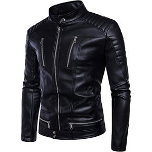 Smooth Zip Up Men's Fitted Leather Jacket