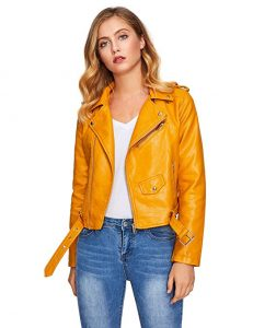 Verdusa Women's Faux Leather Motorcycle Zipper Jacket