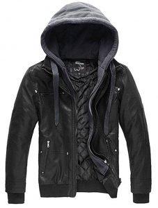 WantDo Leather Jacket Faux with the Removable Hood