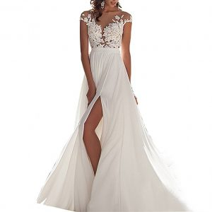 Chady Chiffon Beach Wedding Dress Lace Back Long Tail Wedding Gowns Bride Dresses for Weddings