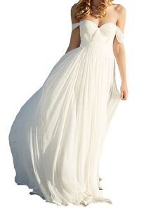 Lovelybride Elegant Long Chiffon Bridal a Line Empire Beach Wedding Dress