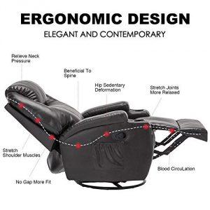 MSG Massage Recliners Leather Chair Ergonomics Lounge Swivel – Heated