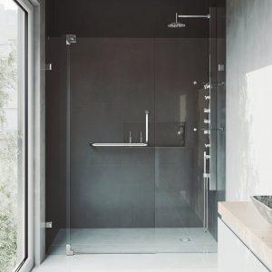 VIGO Pirouette frameless shower door