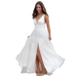 Women's Backless Lace Spaghetti Beach Wedding Dresses from