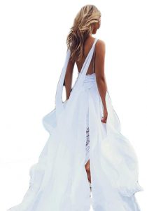 Women's Lace High Split Chiffon Bridal Gowns A-line Backless Beach Wedding Dress from Veilace
