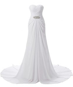 YSFS Women's Beach Wedding Dress Sweetheart Chiffon Bridal Wedding Gown