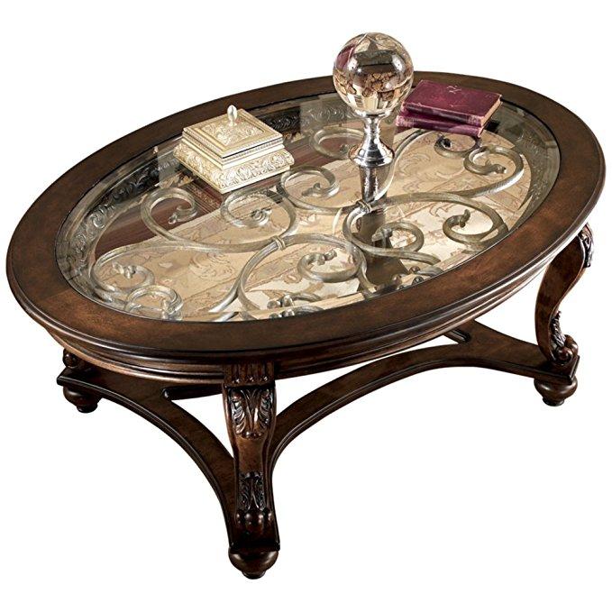 Ashley Furniture Glass Top Dark Brown Table